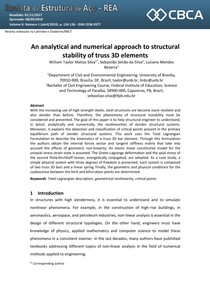 An analytical and numerical approach to structural stability of truss 3D elements