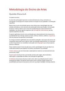 Metodologia do Ensino de Artes QUESTAÕ DISCURSIVA