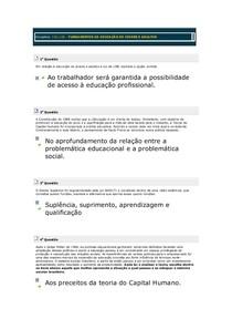 3º TESTE DE CONHECIMENTO FUNDAMENTOS DA EDUCAÇÃO DE JOVENS E ADULTOS