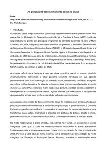 Politicas de desenvolvimento social no Brasil