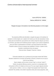PORTFÓLIO JOGOS E BRINCADEIRAS UNINTER