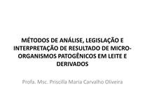 Aula Método de análise, Legislação, interpretação de resultados e laudo analítico