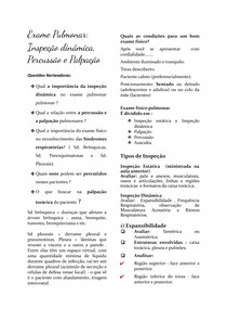 Exame Pulmonar: Inspeção dinâmica, Percussão e Palpação