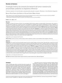 A evolução histórica dos conceitos de transtorno de humor e transtorno de personalidade  problemas no diagnóstico diferencial