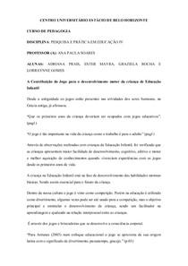 Fichamento    A CONTRIBUIÇÃO DO JOGO PARA O DESENVOLVIMENTO MOTOR DA CRIANÇA DE EDUCAÇÃO INFANTIL