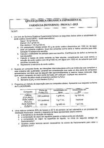 Prova 1 - Química Orgânica Experimental - 2013