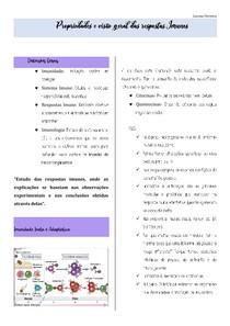 Propriedades e visão geral das respostas Imunes