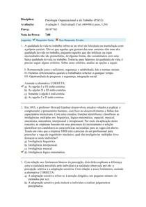 avaliação I Psicologia Organizacional e do Trabalho
