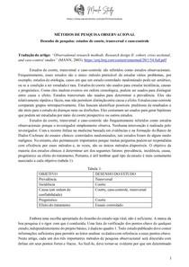 Métodos de pesquisa observacional - estudos de coorte, transversal e caso-controle