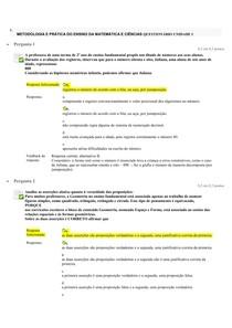 METODOLOGIA E PRÁTICA DO ENSINO DA MATEMÁTICA E CIÊNCIAS. questionário 1
