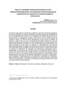 A IMPORTÂNCIA DE ALFABETIZAR UTILIZANDO FERRAMENTAS TECNOLÓGICAS -ARTIGO