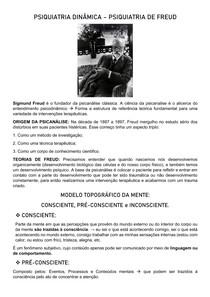 PSIQUIATRIA DINÂMICA - TEORIAS DE FREUD