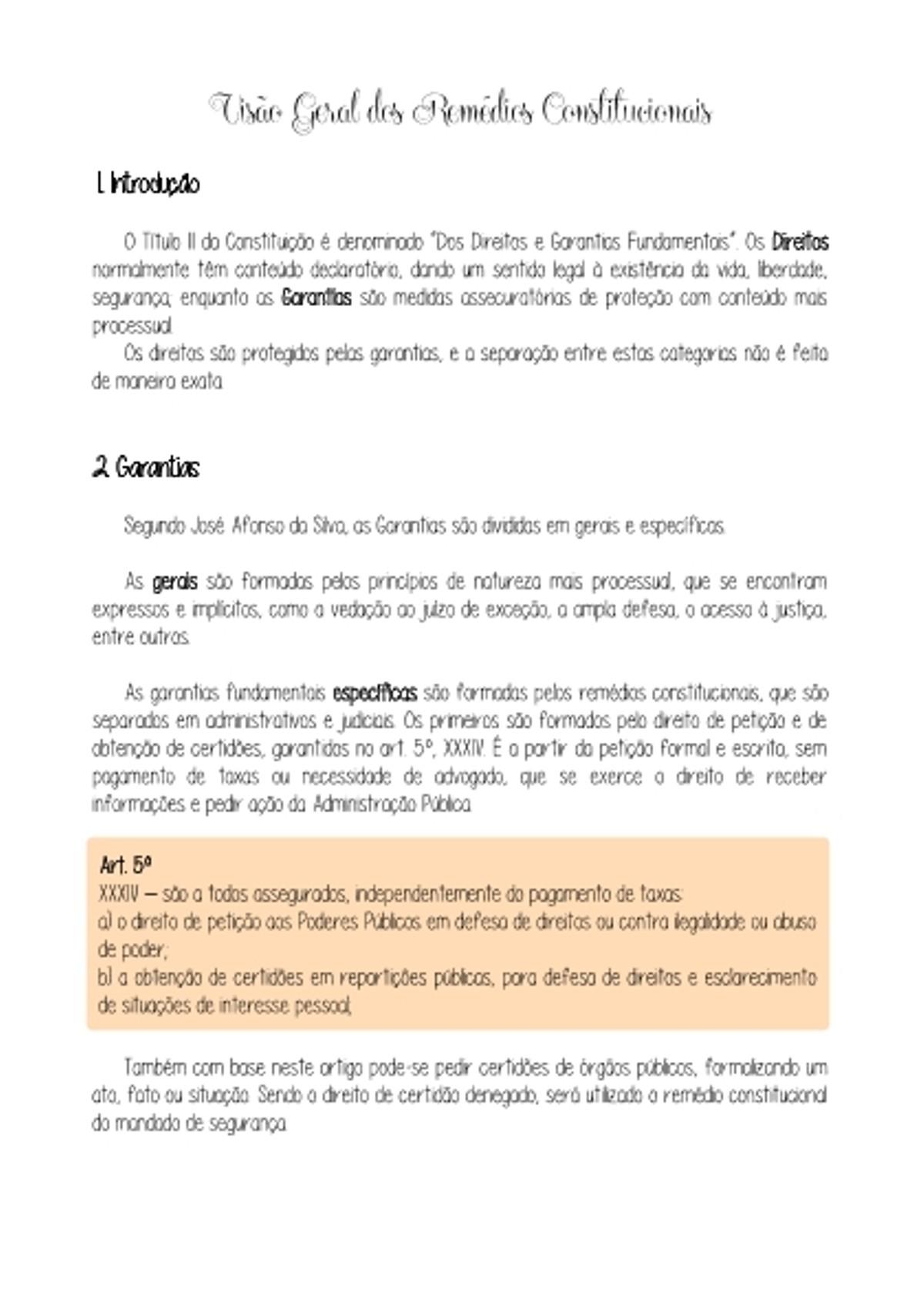 Pre-visualização do material 10 - Visão Geral dos Remédios Constitucionais - página 1