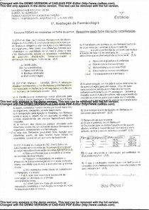 Prova AV1 Farmacologia aplicada à nutrição - Farmacologia Apli