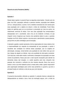 RESENHA DA SÉRIE PANDEMIA DA NETFLIX