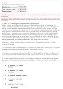 PROVA OBJETIVO PSICOLOGIA E COMPORTAMENTO ORGANIZACIONAL
