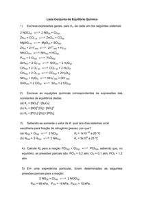 LISTA RESOLVIDA - Equilíbrio Químico.