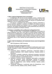 Questionário Introdução a Engenharia Civil
