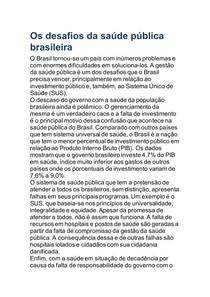 Os desafios da saúde pública brasileira