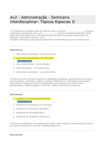 Av2   Administração - Unopar-  Seminário Interdisciplinar Tópicos Especias II