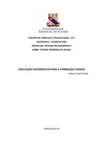 Educação geográfica e formação cidadã