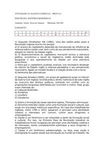 Atividade Avaliativa Especial - História Moderna II Prova 2 RESOLVIDA