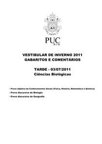 PUC RJ 2011 (2) - GABARITO - Ciências da Natureza (questões objetivas)