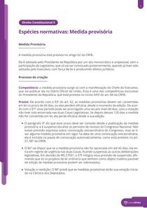 Espécies normativas: Medida Provisória - Resumo