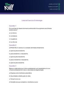 Lista de Exercício Embriogênese