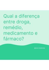 Diferença entre droga, remédio, medicamento e fármaco