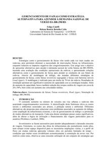 GERENCIAMENTO DE FAIXAS COMO ESTRATÉGIA ALTERNATIVA PARA A BR-290