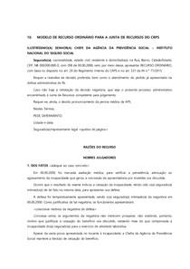 10   MODELO DE RECURSO ORDINÁRIO PARA A JUNTA DE RECURSOS DO CRPS