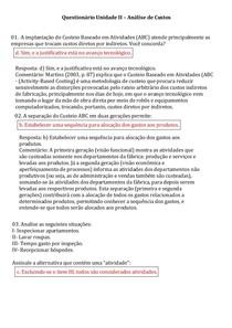 Análise de Custos   Questionário Unidade  II