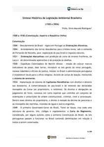 Sintese historica da legislação ambiental brasileira