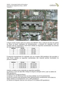 Unicap - Topografia 1- Exercícios - Coordenadas Áreas Exercício 18 (Labtopope)