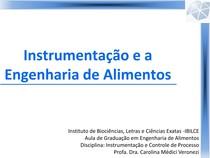 Instrumentação e a Engenharia de Alimentos