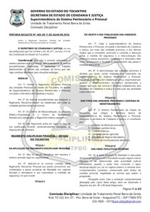 PORTAIRA SECIJU N. 569   NOVO REGIMENTO DISCIPLINAR  PRISIONAL - TOCANTINS
