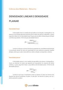 Densidade linear e densidade planar - Resumo