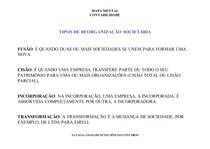 TIPOS DE REORGANIZAÇÃO SOCIETÁRIA