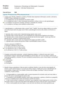 Avaliação I - Fundamentos e Metodologia da Alfabetização e Letramento