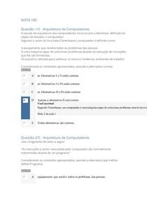 APOL-OBJETIVA -ARQUITETURA DE COMPUTADORES NOTA 100