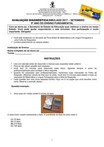 AvaliacaoDiagnostica-Simulado-Mat eLP9ano-2017