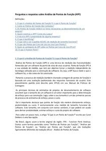 Perguntas e Respostas sobre Análise de Pontos de Função (APF)