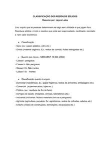 CLASSIFICAÇÃO DOS RESÍDUOS SÓLIDOS_resumido
