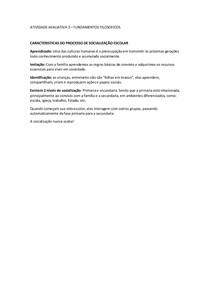 ATIVIDADE AVALIATIVA 3 - FUNDAMENTOS FILOSOFICOS