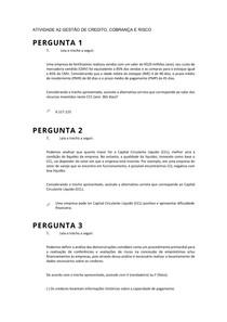 ATIVIDADE A2 GESTÃO DE CREDITO COBRANÇA E RISCO