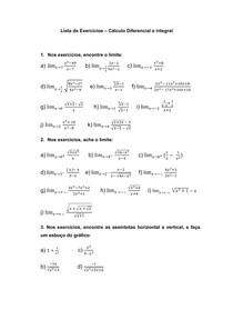 Lista de Exercícios - Cálculo I