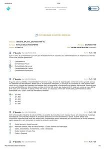 AV1 SIMULADO CONTABILIDADE DE CUSTOS E GERENCIAL