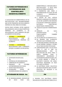 Resumo de Microbiologia dos Alimentos