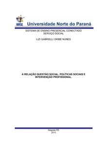 portfólio individual A RELAÇÃO QUESTÃO SOCIAL, POLÍTICAS SOCIAIS E INTERVENÇÃO PROFISSIONAL.